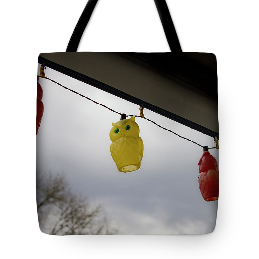 Awning Tote Bag featuring the photograph Owl Lights On The Awning by By Way of Karma