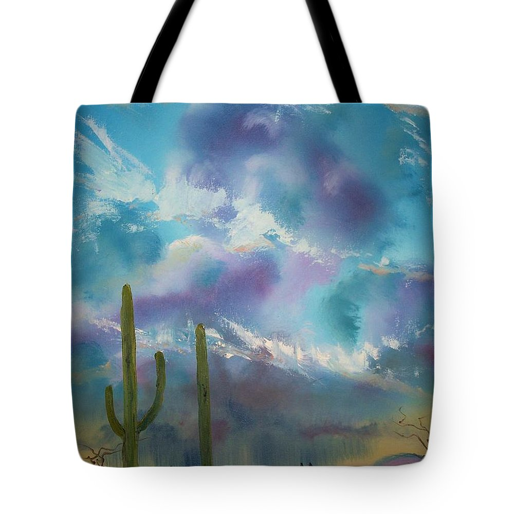 Southwest Tote Bag featuring the painting Owl Parking Only by Patrick Trotter