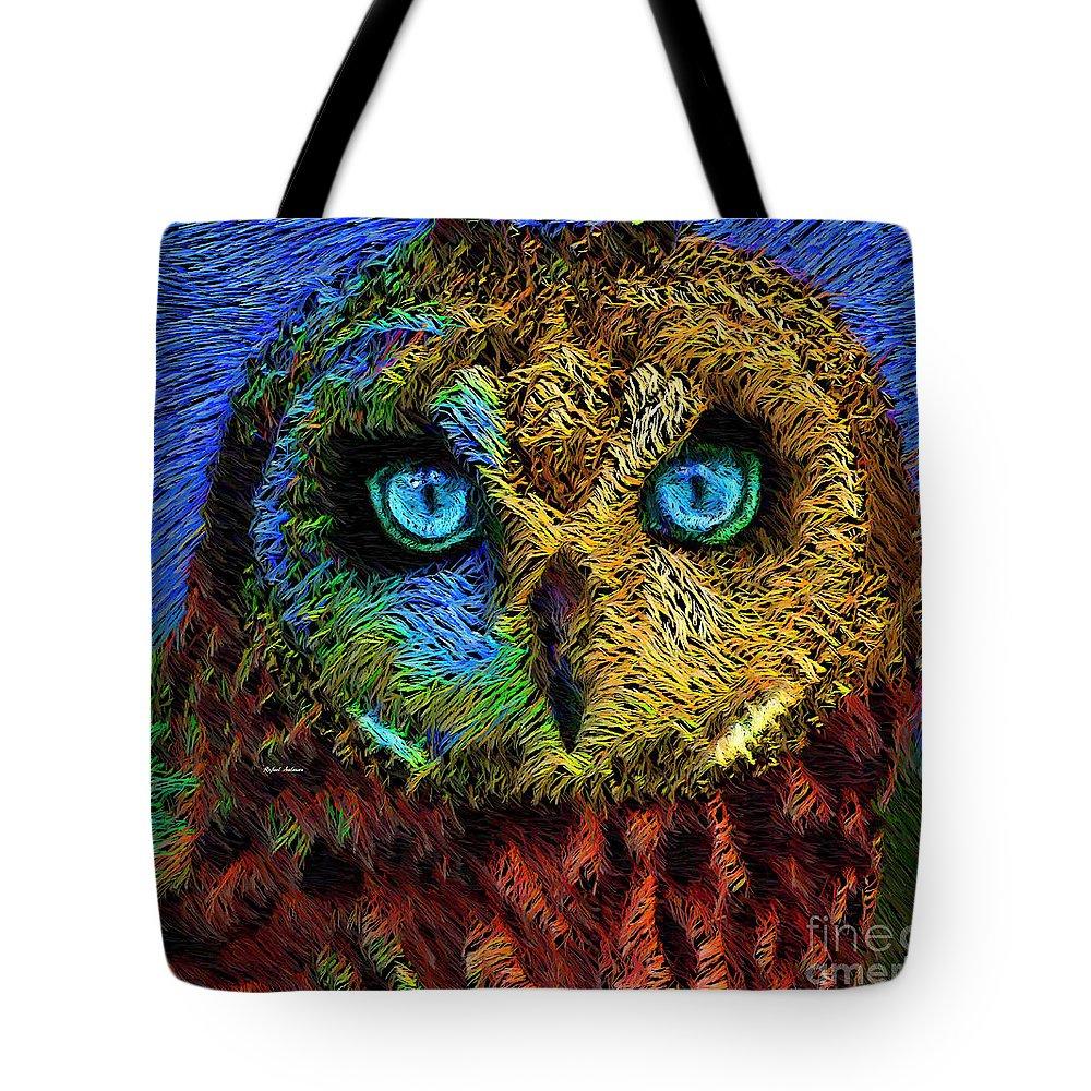 Rafael Salazar Tote Bag featuring the digital art Owl by Rafael Salazar