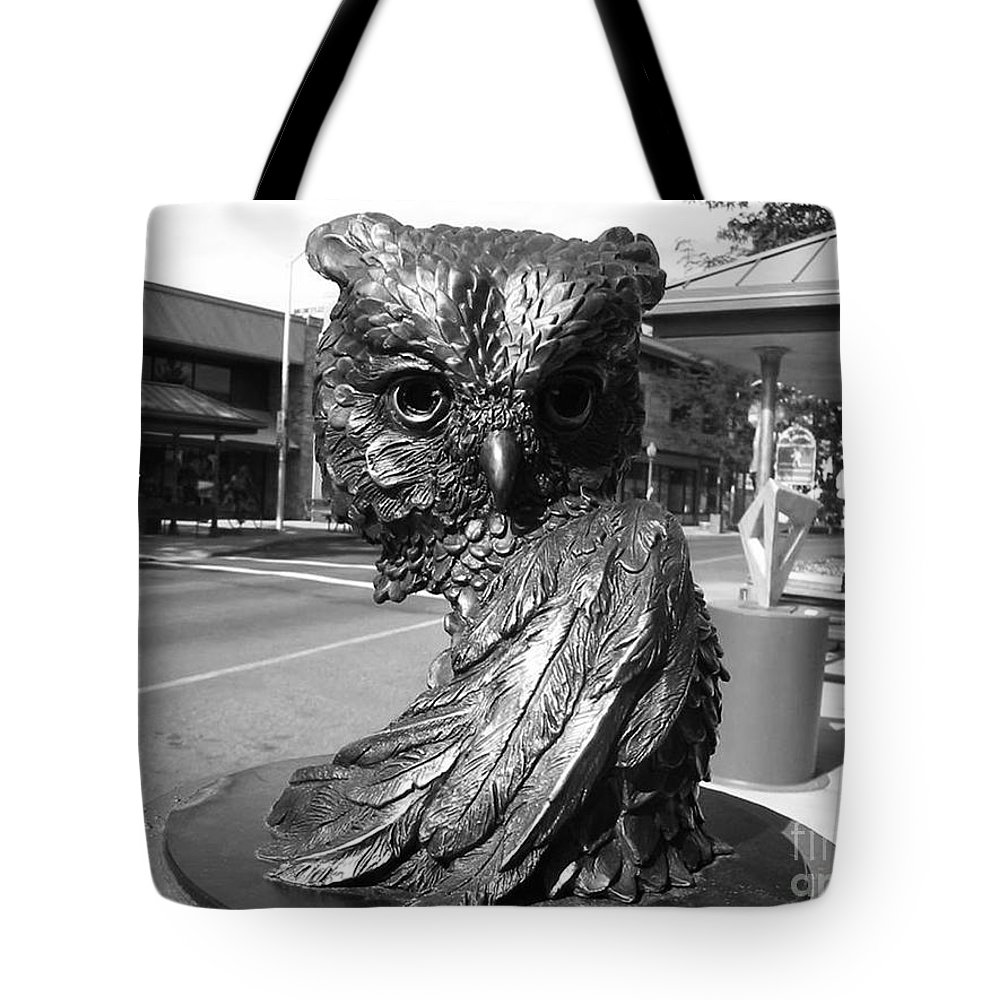 Owl Sculpture Tote Bag featuring the photograph Owl Sculpture Grand Junction Co by Tommy Anderson