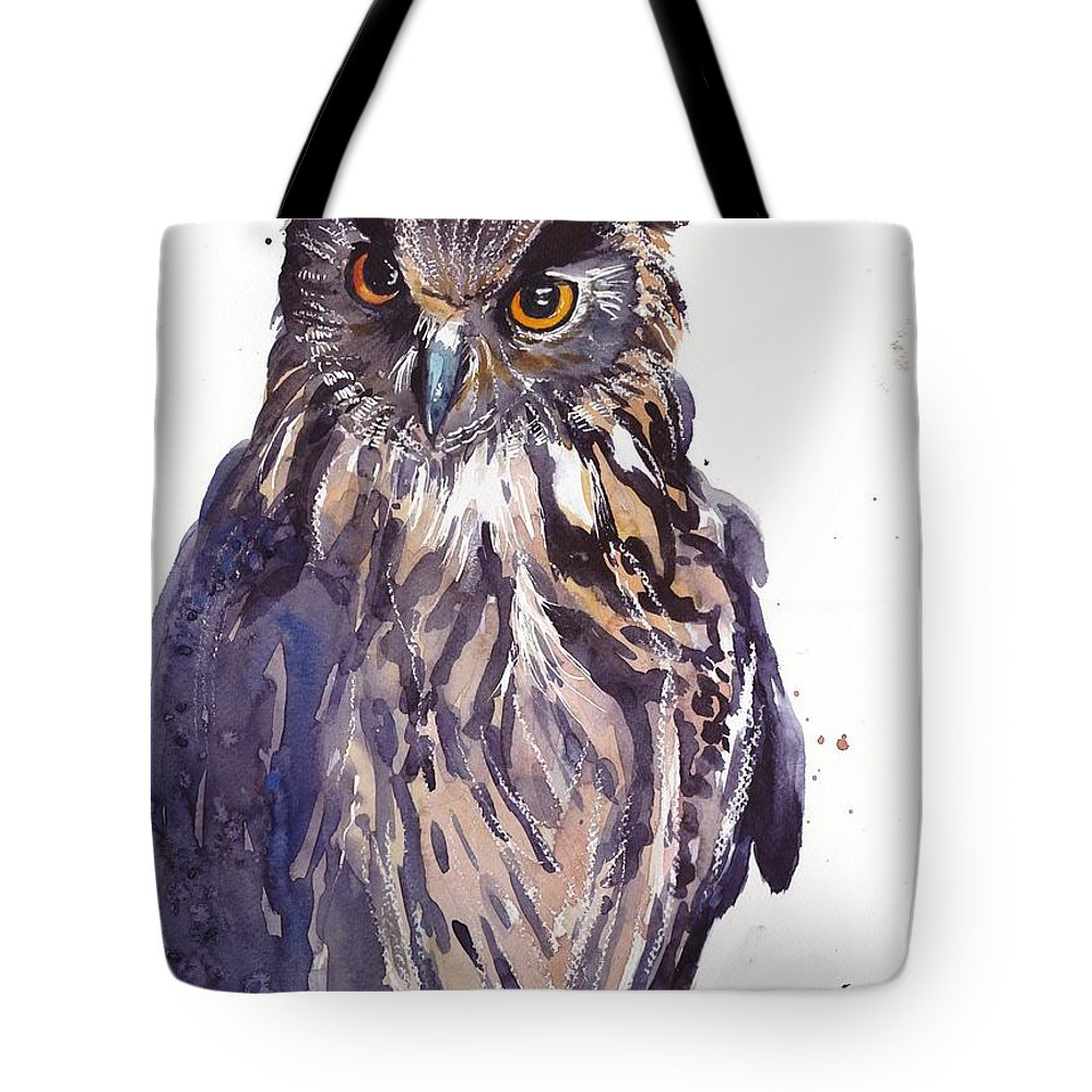 Pigeons Tote Bag featuring the painting Owl Watercolor by Suzann Sines