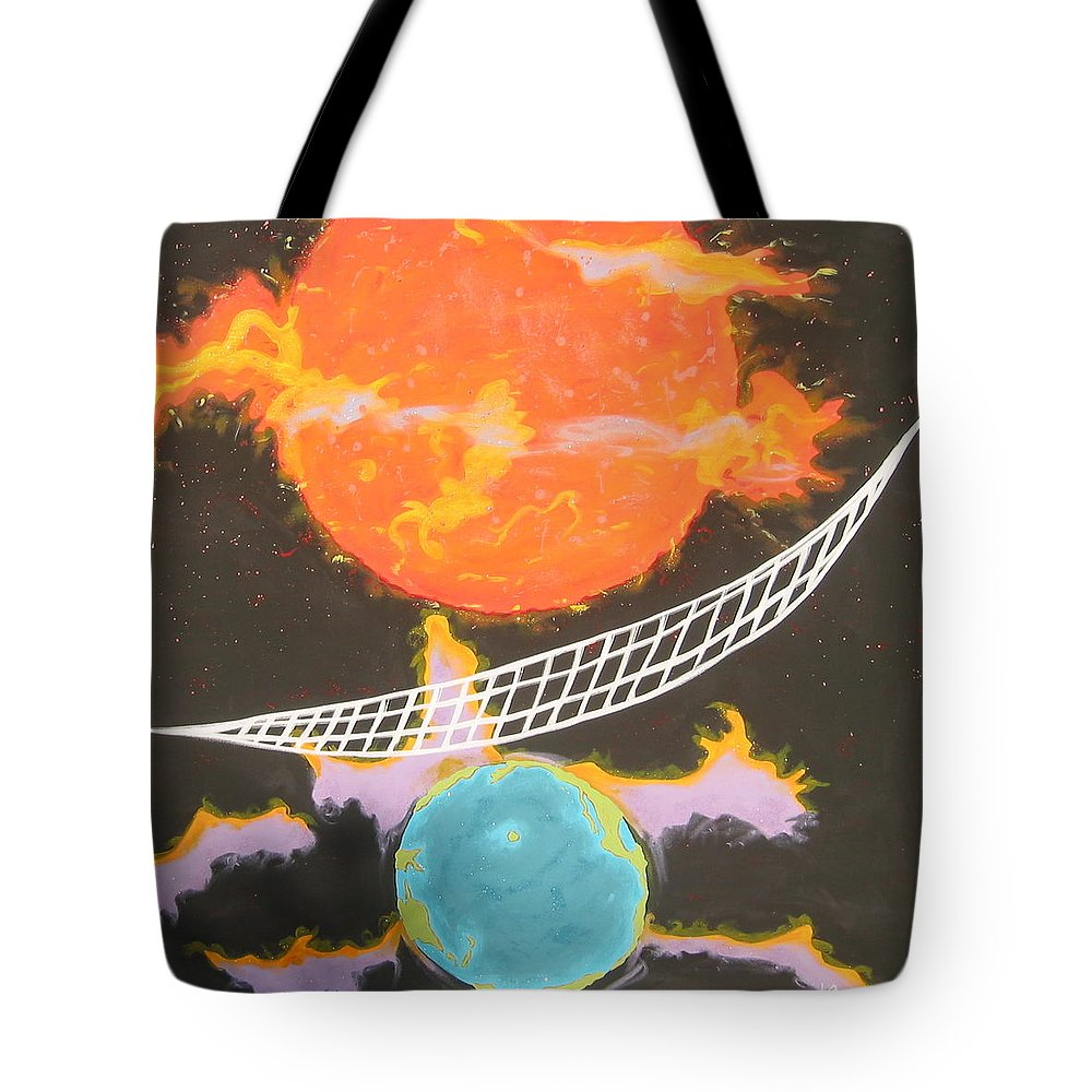Environment Tote Bag featuring the painting Ozone Net by V Boge