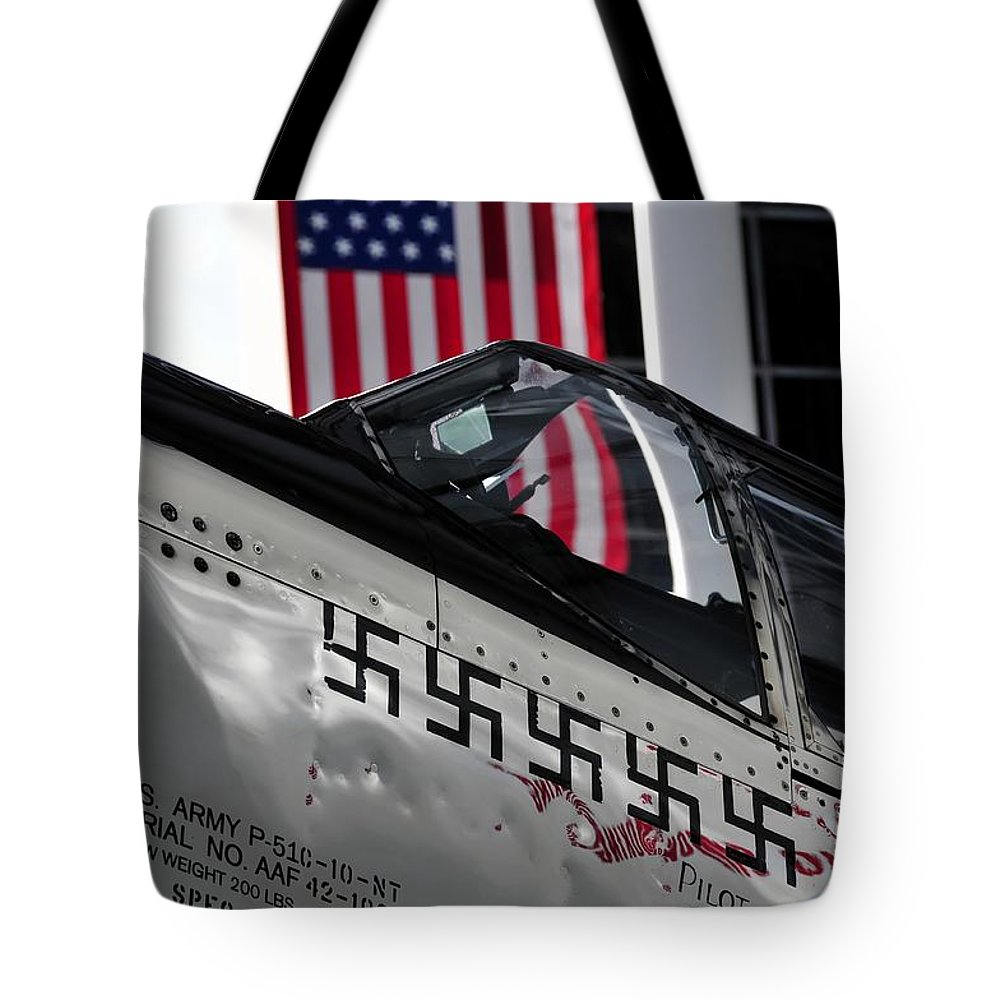 P 51 Mustang Tote Bag featuring the photograph P 51 Mustang by David Lee Thompson