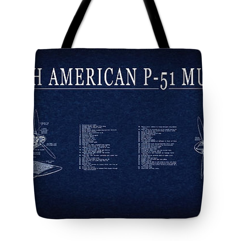 P 51 mustang fighter blueprint tote bag for sale by daniel hagerman p 51 mustang tote bag featuring the digital art p 51 mustang fighter blueprint by malvernweather Gallery
