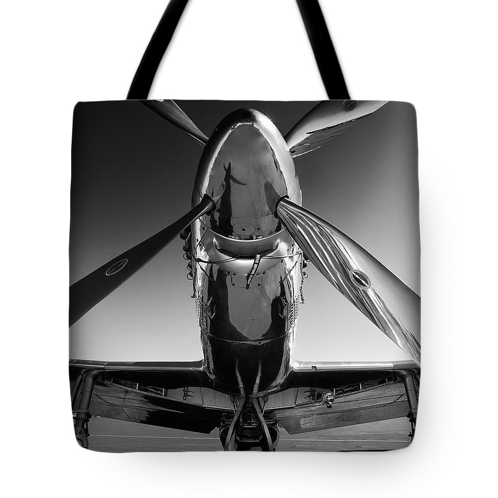P51 Tote Bag featuring the photograph P-51 Mustang by John Hamlon