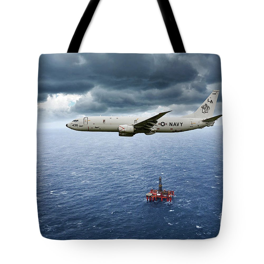 P-8 Poseidon Tote Bag featuring the digital art P-8 Poseidon God Of The Seas by Airpower Art