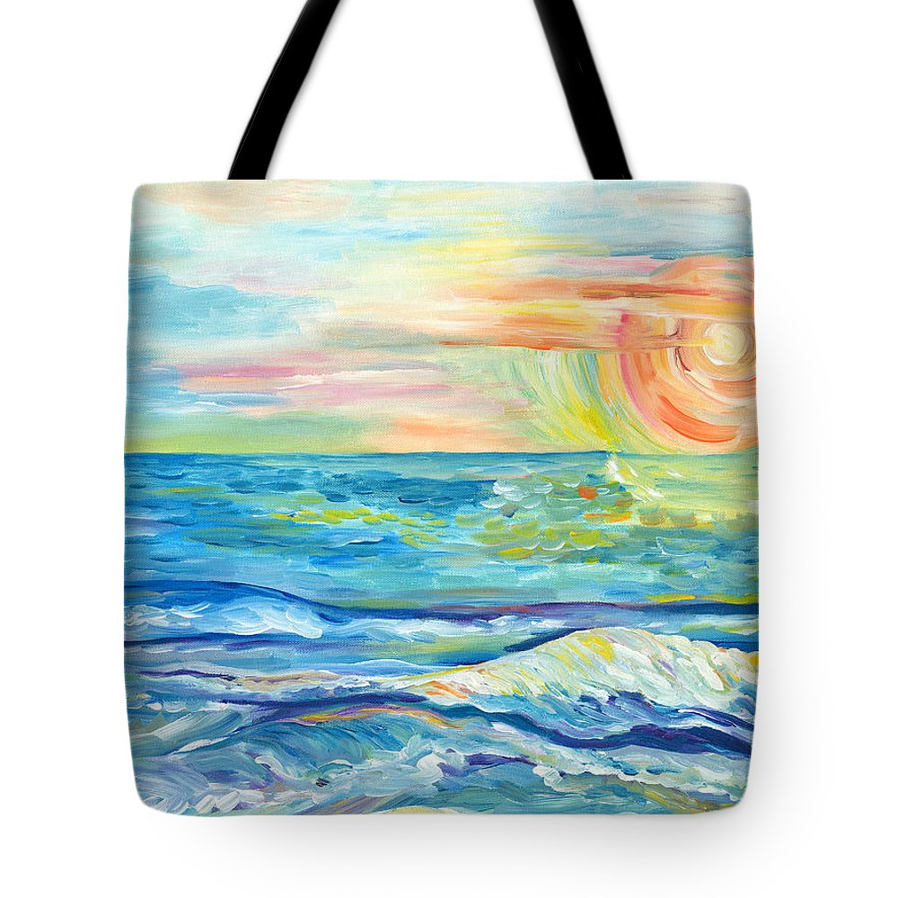 Waves Tote Bag featuring the painting Pa'ana'a Ka La by Bev Veals