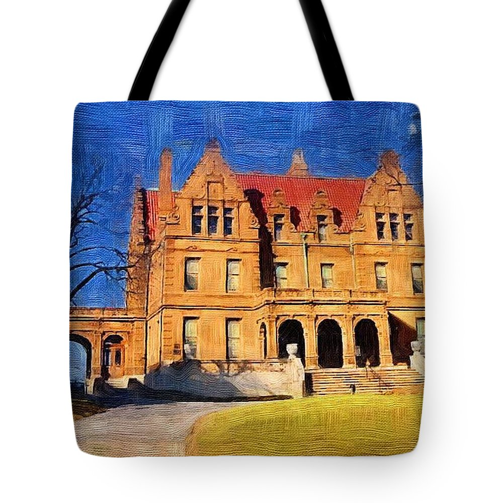 Architecture Tote Bag featuring the digital art Pabst Mansion by Anita Burgermeister