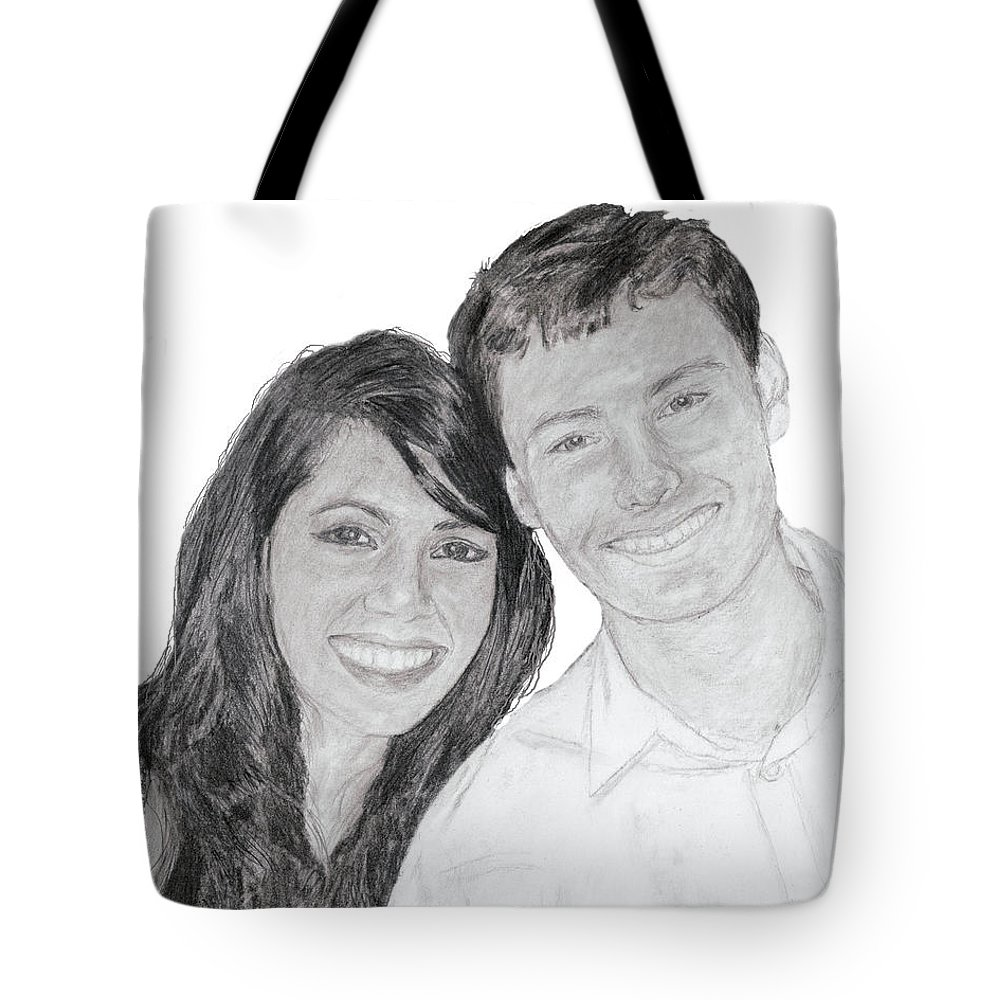 Portrait Tote Bag featuring the painting Pac And Yassi by Quwatha Valentine