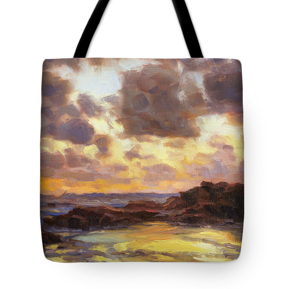 Coast Tote Bag featuring the painting Pacific Clouds by Steve Henderson