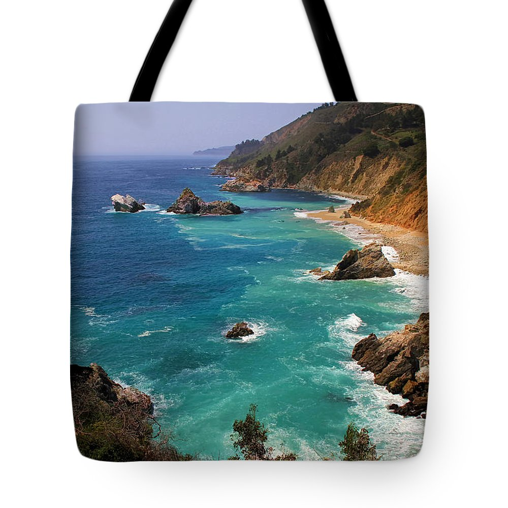 Big Sur Tote Bag featuring the photograph Pacific Coast Blues by Donna Kennedy