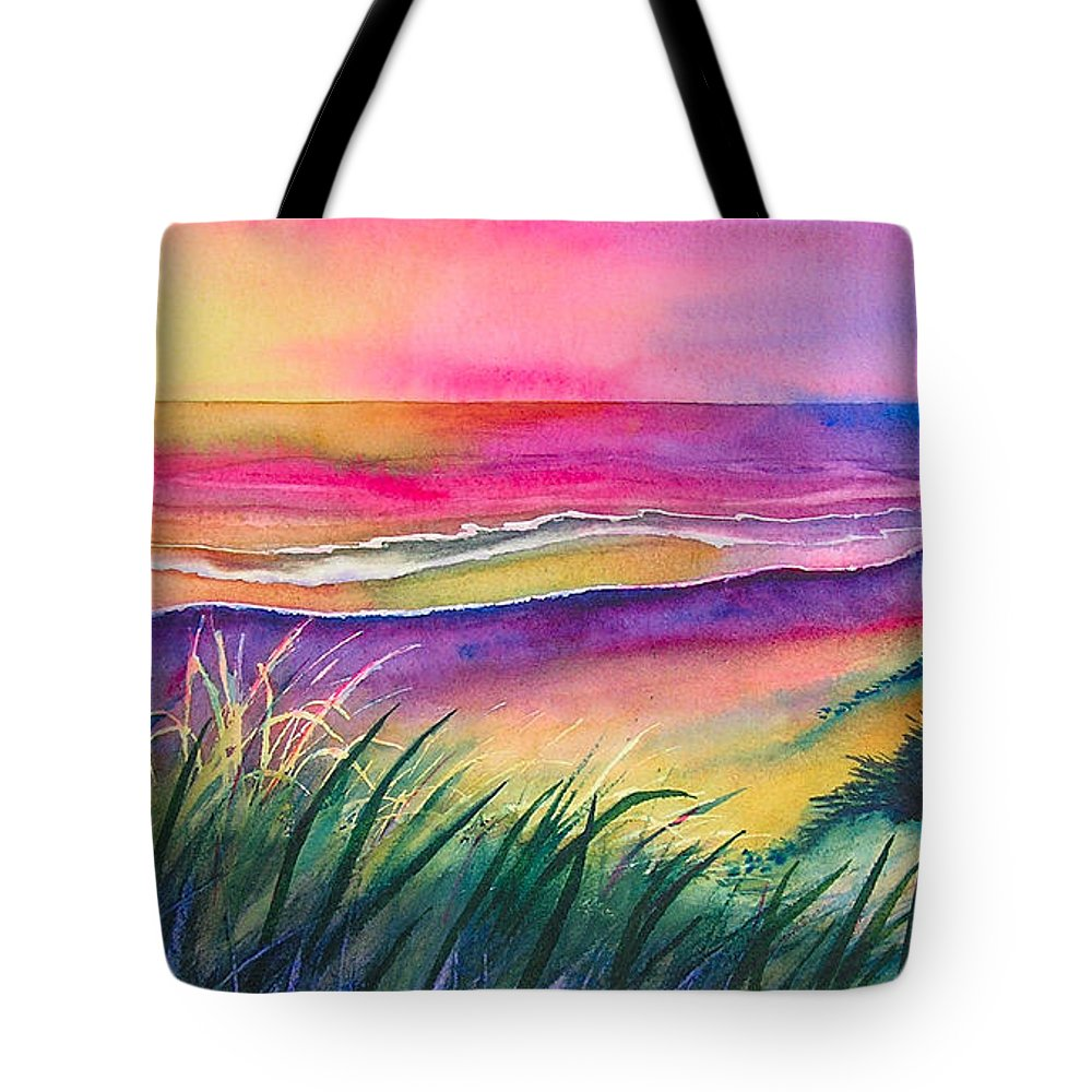 Pacific Tote Bag featuring the painting Pacific Evening by Karen Stark