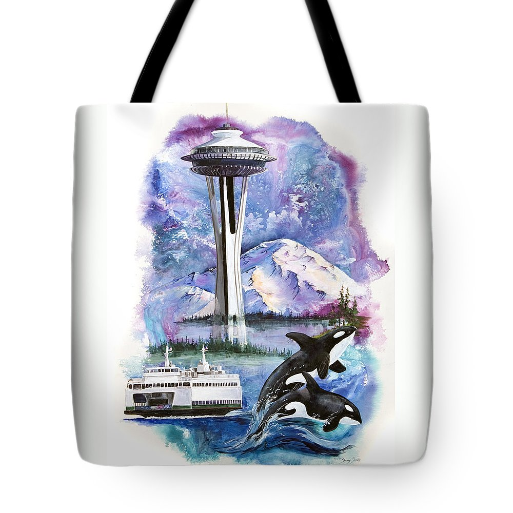 Mount Rainier Tote Bag featuring the painting Pacific Northwest Montage by Sherry Shipley