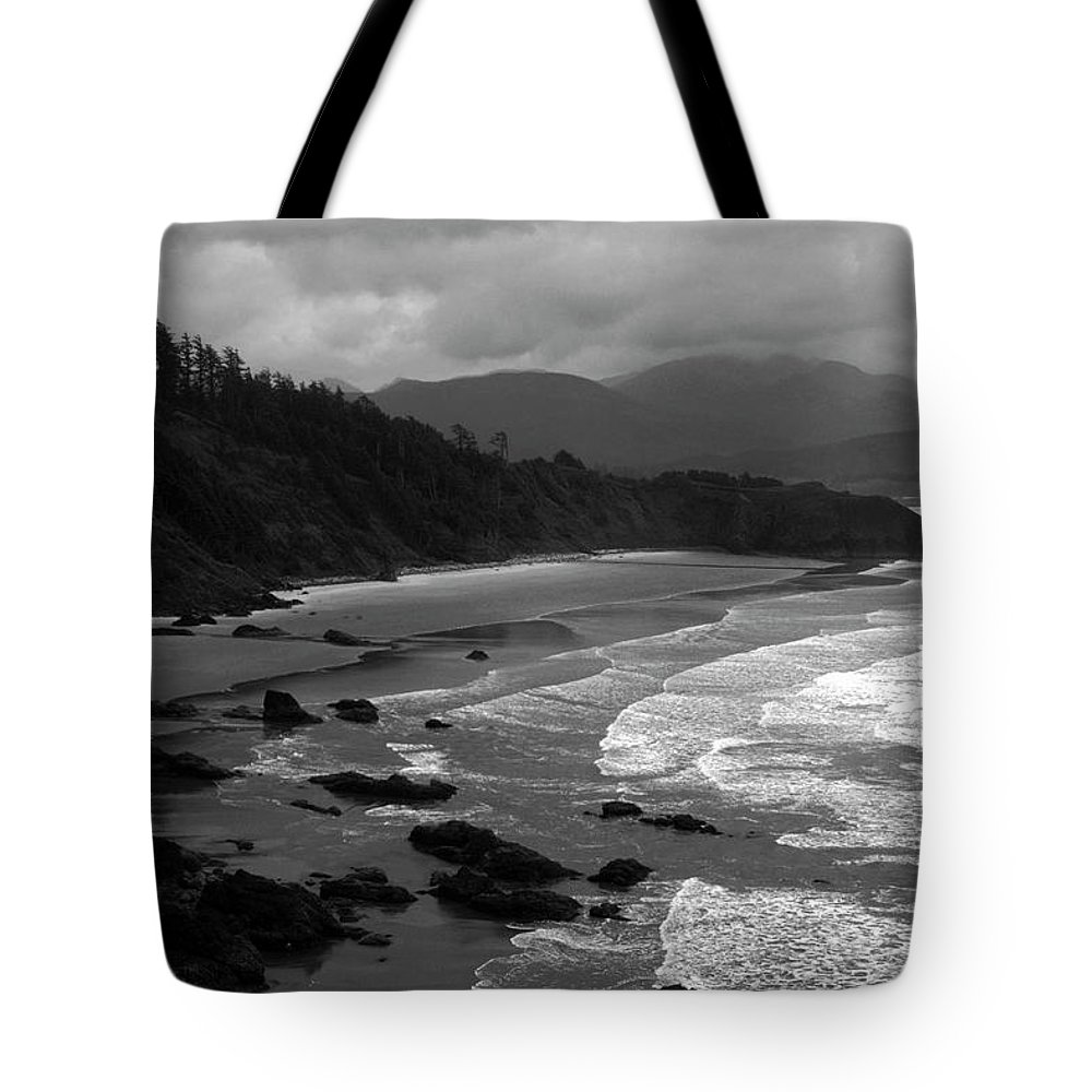 Beach Tote Bag featuring the photograph Pacific Ocean Moody Scenic by Sally Weigand