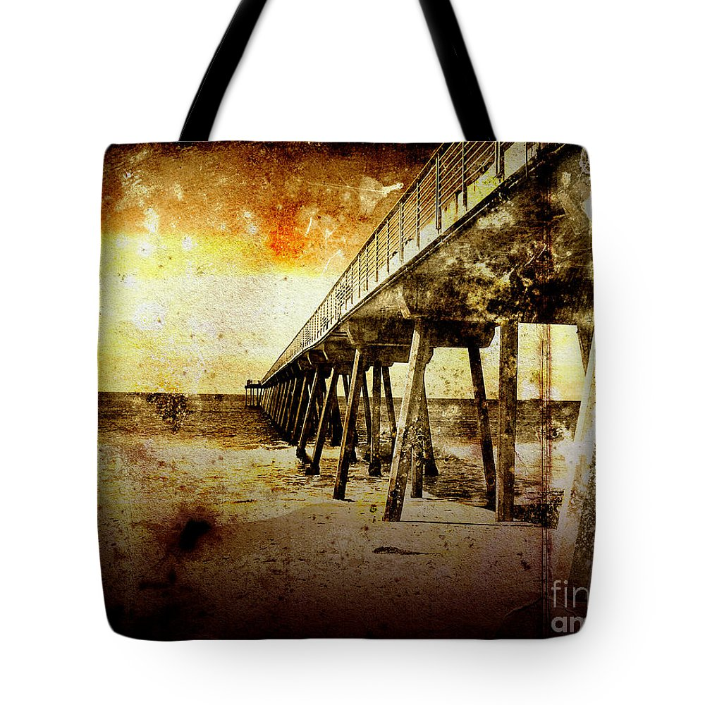 Vintage Photography Tote Bag featuring the photograph Pacific Pier by Phil Perkins
