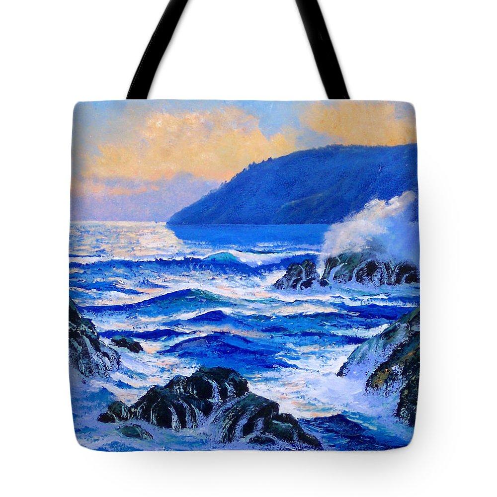 Ocean Tote Bag featuring the painting Pacific Sunset by Frank Wilson