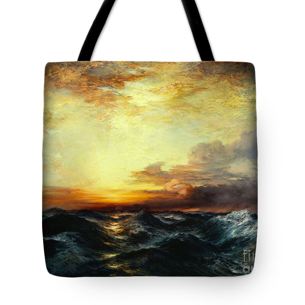 Thomas Moran Tote Bag featuring the painting Pacific Sunset by Thomas Moran