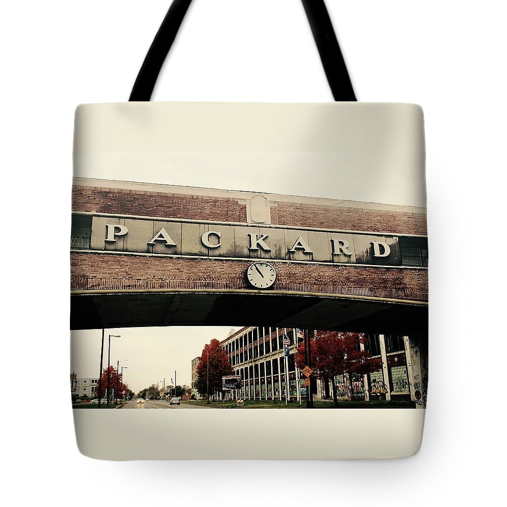 Packard Plant Tote Bag featuring the photograph Packard Plant by Deborah Magasark