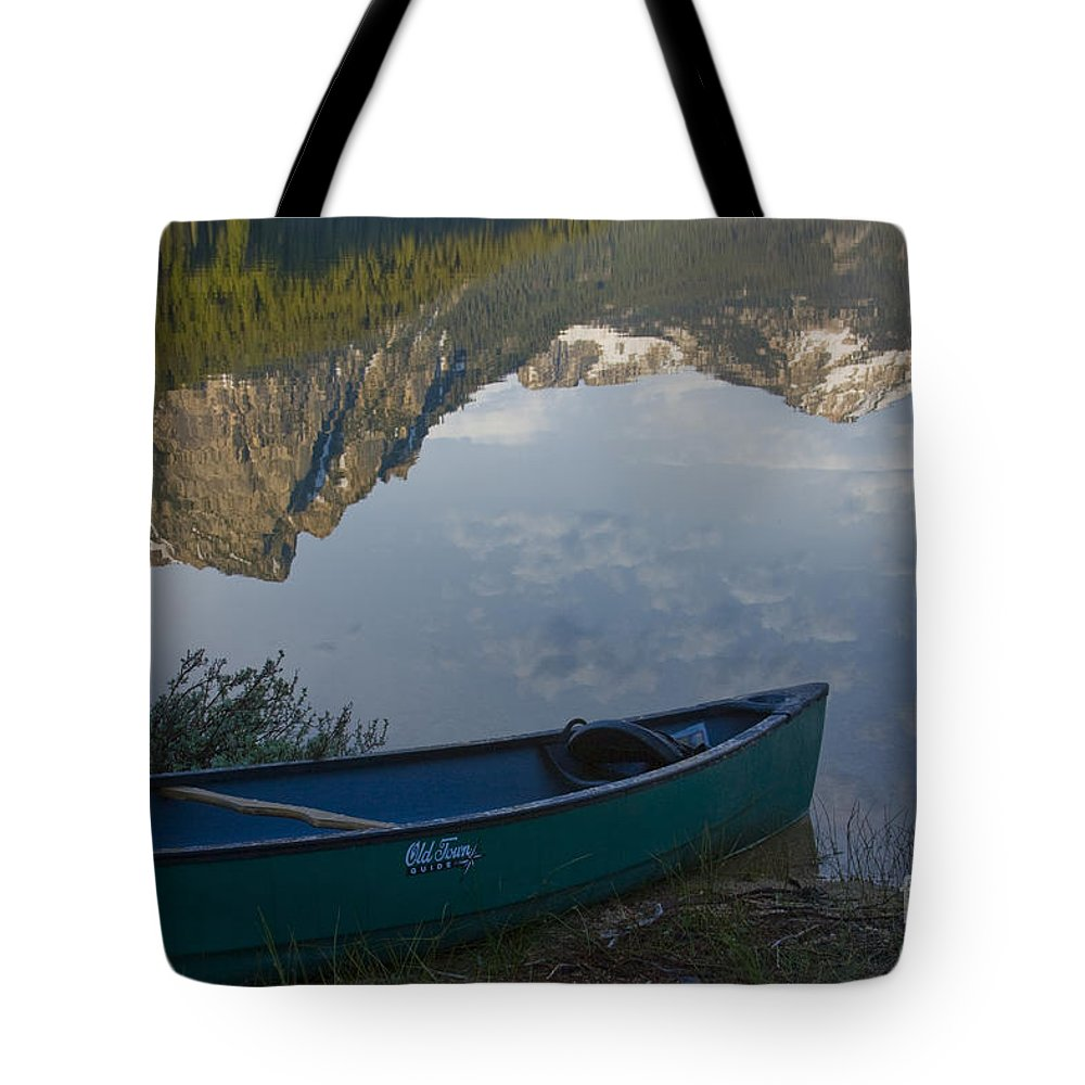 Canoe Tote Bag featuring the photograph Paddle To The Mountains by Idaho Scenic Images Linda Lantzy