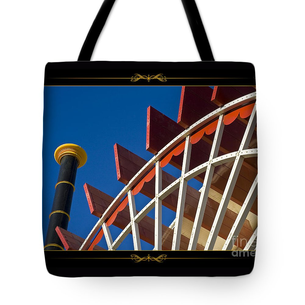 Paddlewheel Tote Bag featuring the photograph Paddlewheel With Border by Tim Hightower