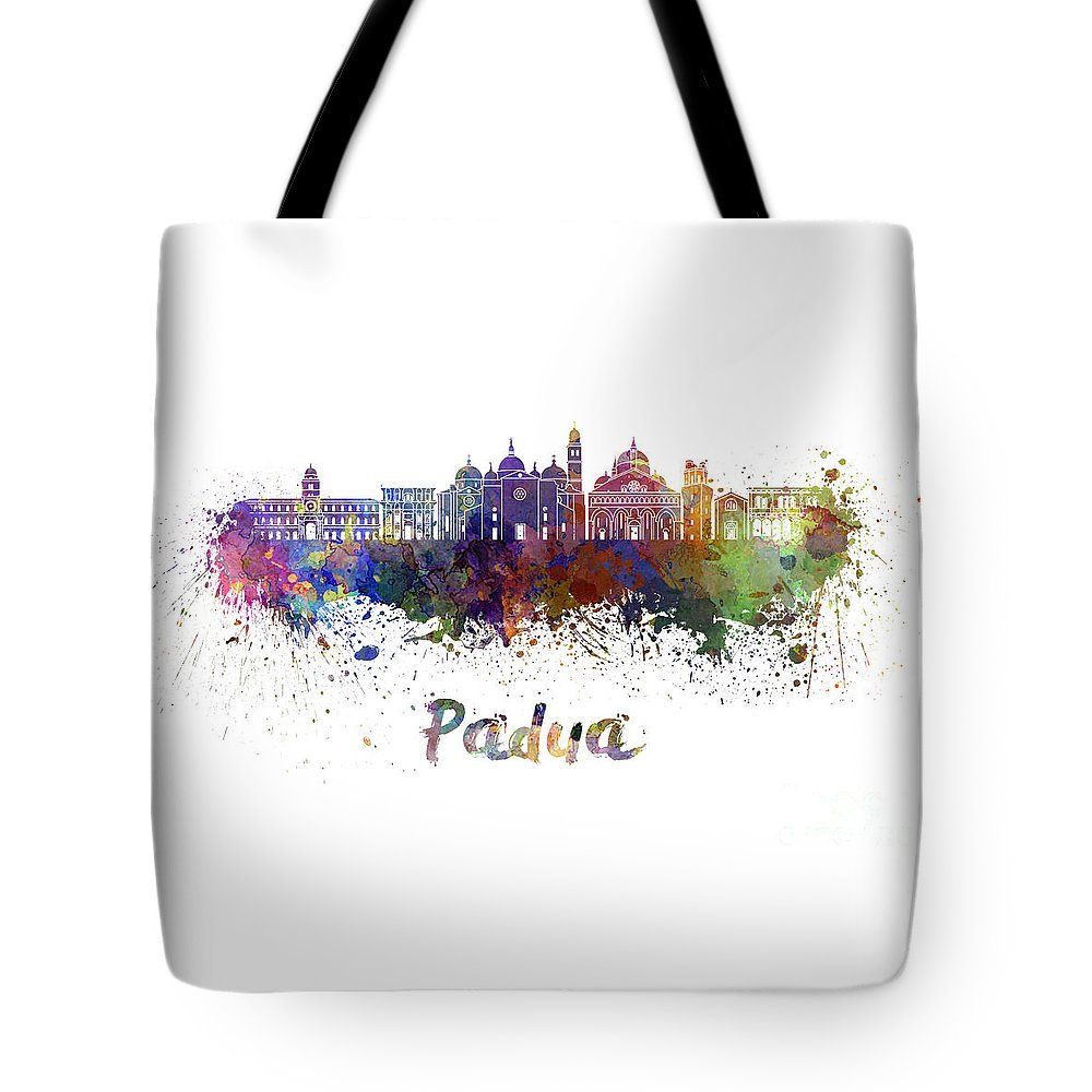 Padua Tote Bag featuring the painting Padua Skyline In Watercolor by Pablo Romero