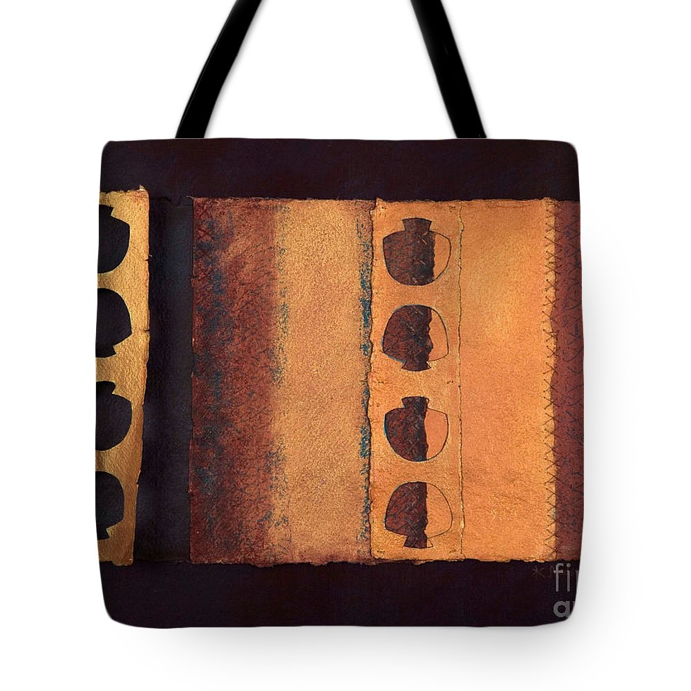 Pageformat Tote Bag featuring the mixed media Page Format No 3 Tansitional Series  by Kerryn Madsen-Pietsch