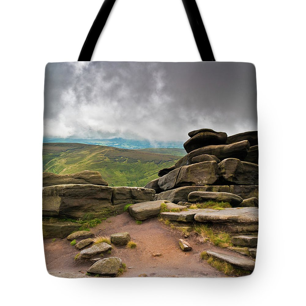 Landscape Tote Bag featuring the photograph Pagoda #1, Kinder Scout, Peak District, North West England by Anthony Lawlor