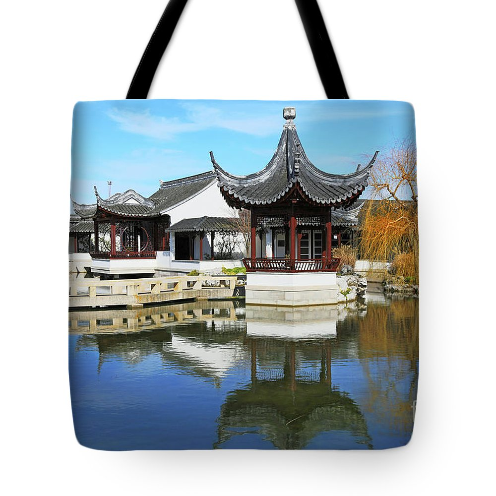 Pagoda Tote Bag featuring the photograph Pagoda In The Pool by Nareeta Martin