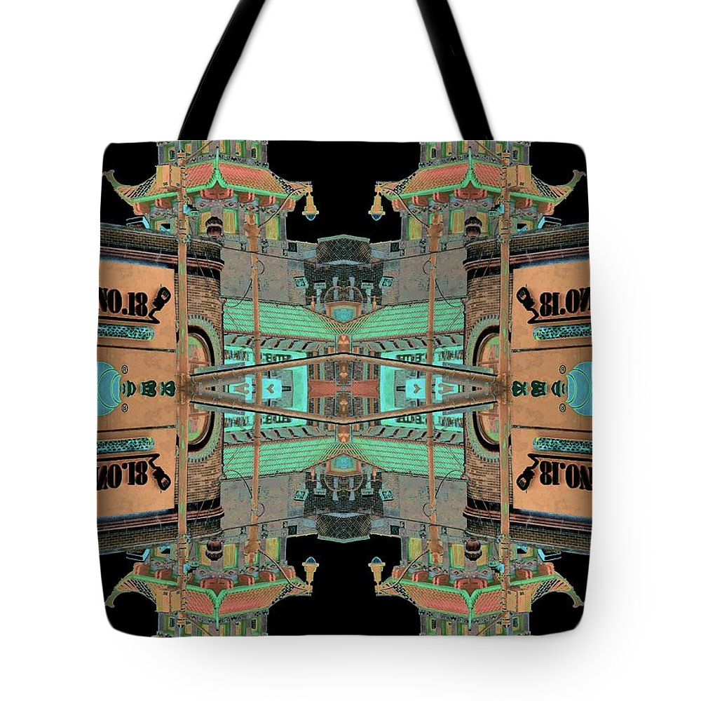 China Town Tote Bag featuring the photograph Pagoda Tower Becomes Chinese Lantern 1 Chinatown Chicago by Marianne Dow
