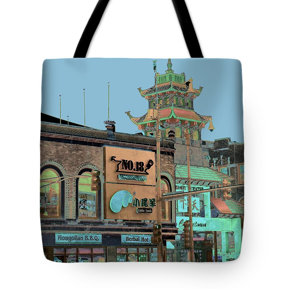 China Town Tote Bag featuring the photograph Pagoda Tower Chinatown Chicago by Marianne Dow