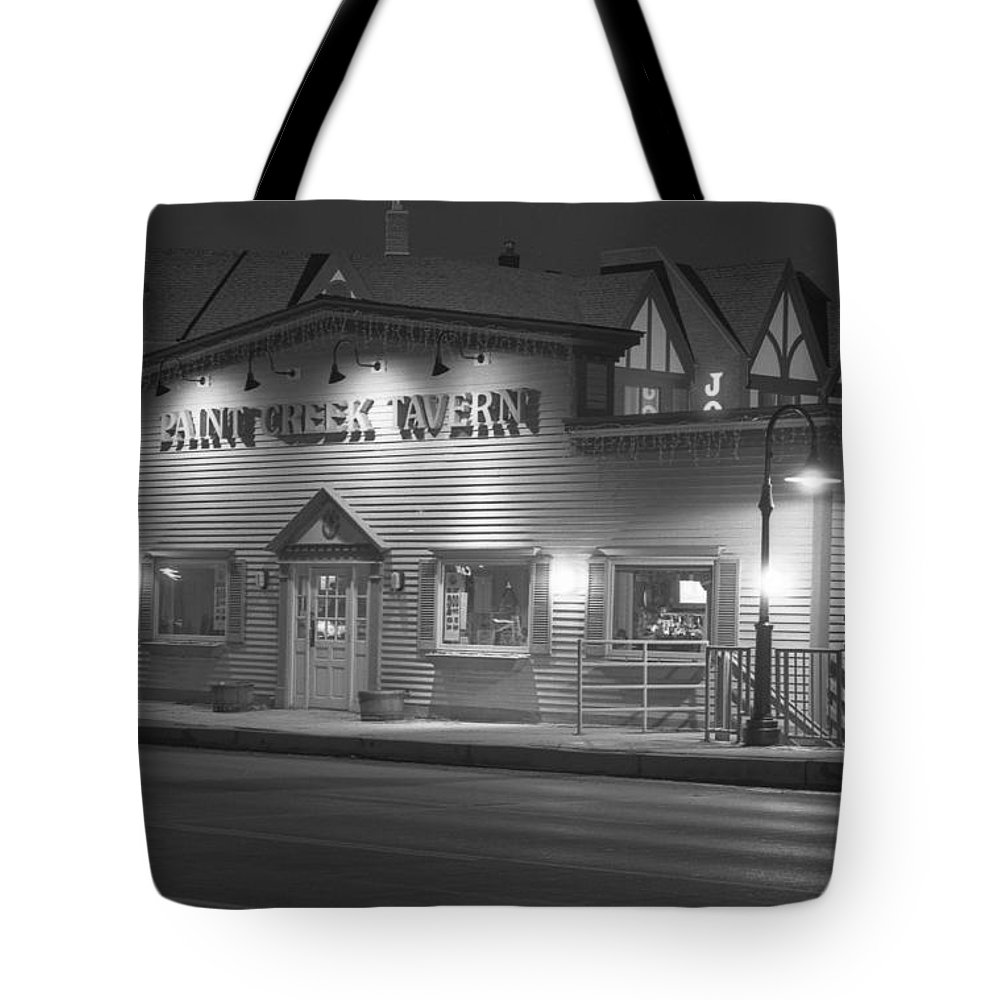 Paint Creek Tote Bag featuring the photograph Paint Creek Tavern by Michael Peychich