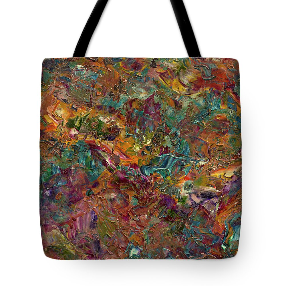 Abstract Tote Bag featuring the painting Paint Number 16 by James W Johnson