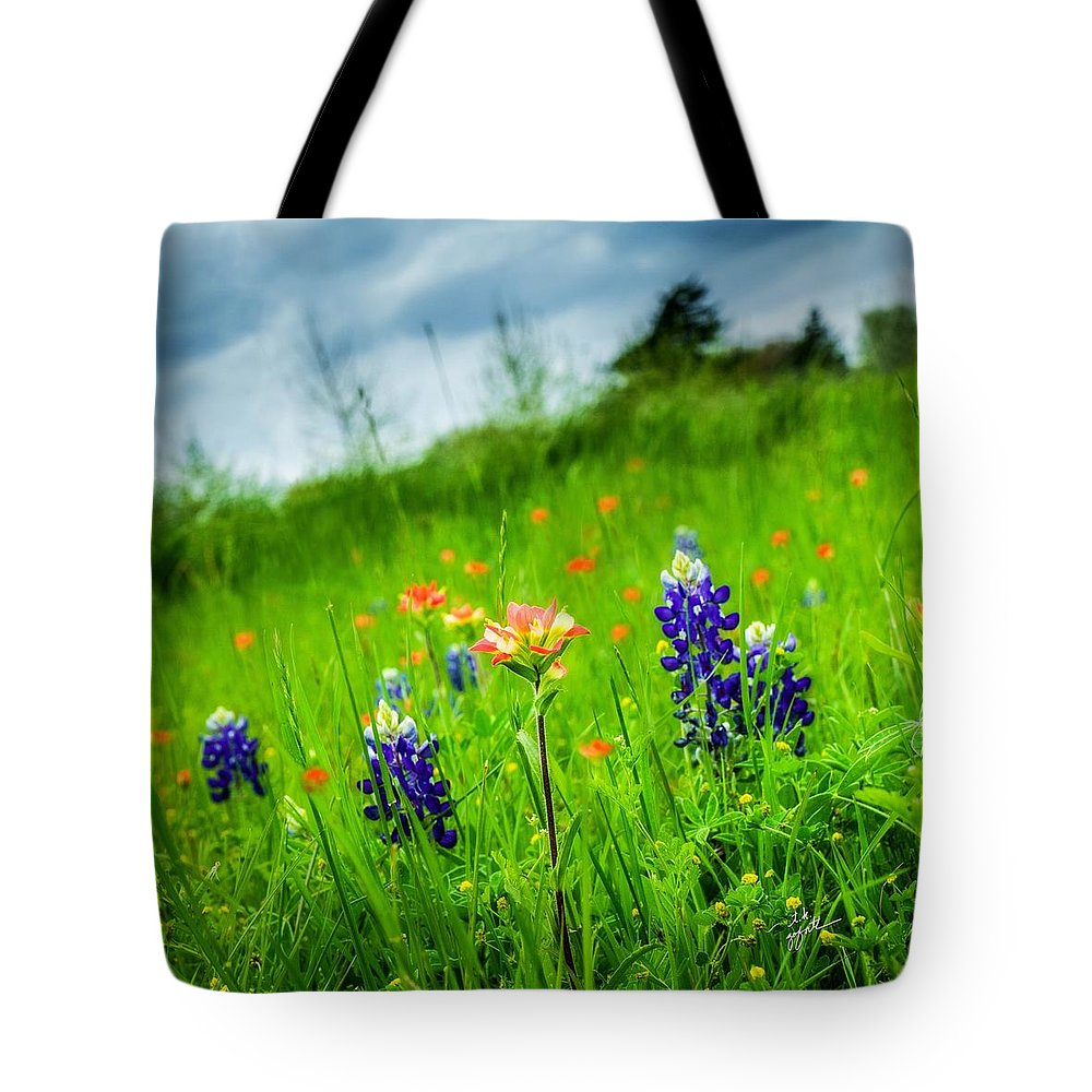 Indian Paintbrush Tote Bag featuring the photograph Paintbrush And Bonnets Square by TK Goforth