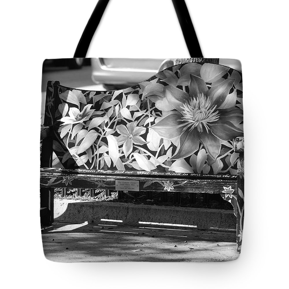 Pop Art Tote Bag featuring the photograph Painted Bench by Rob Hans
