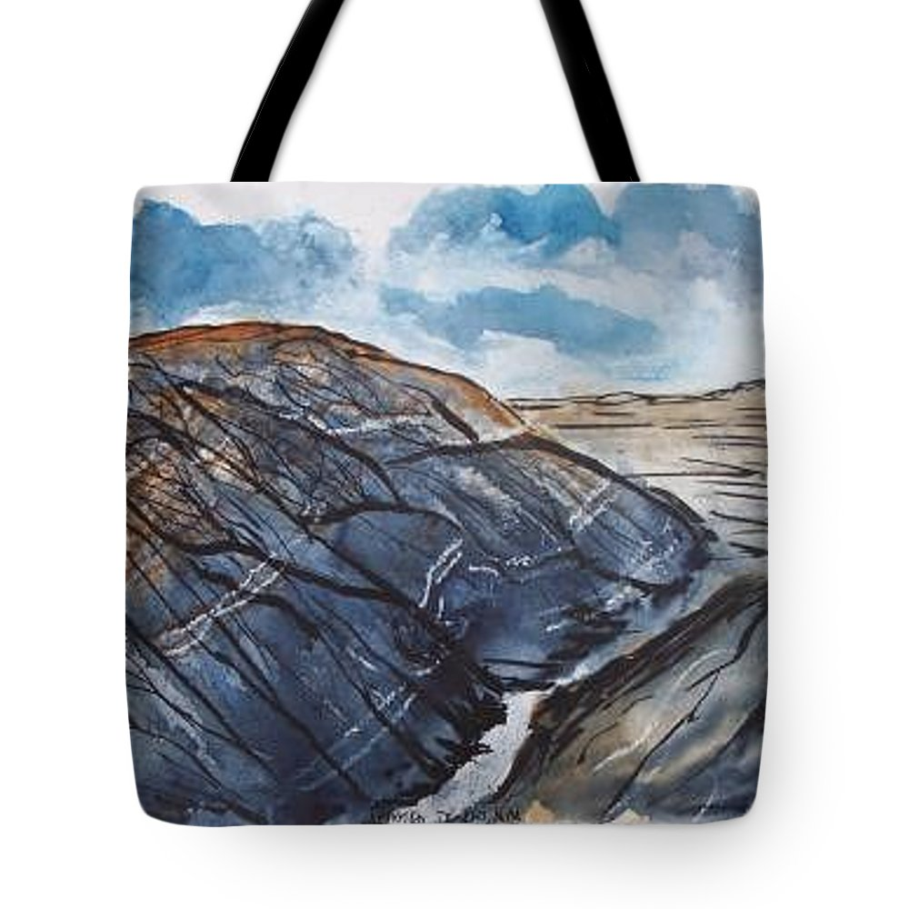 Plein Air Tote Bag featuring the painting Painted Desert Landscape Mountain Desert Fine Art by Derek Mccrea