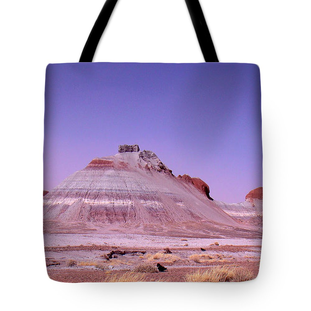 Painted Desert Tote Bag featuring the photograph Painted Desert Tepees by Merja Waters