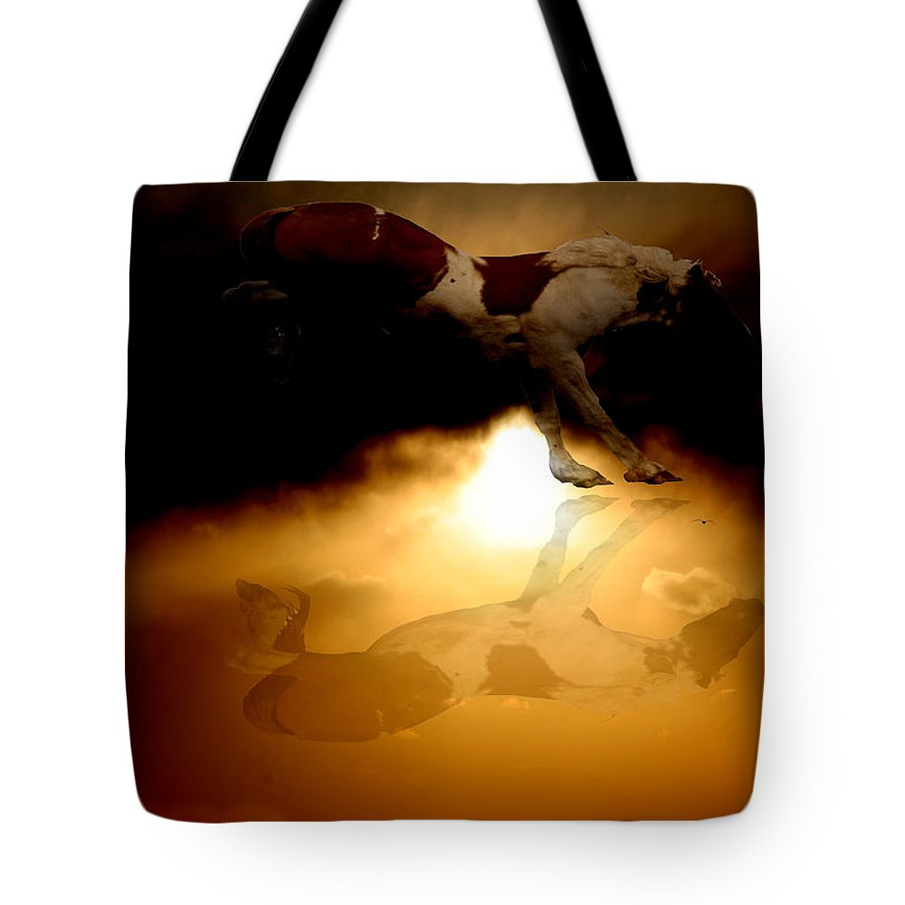 Clouds Tote Bag featuring the photograph Painted Mustang by Andrea Lawrence