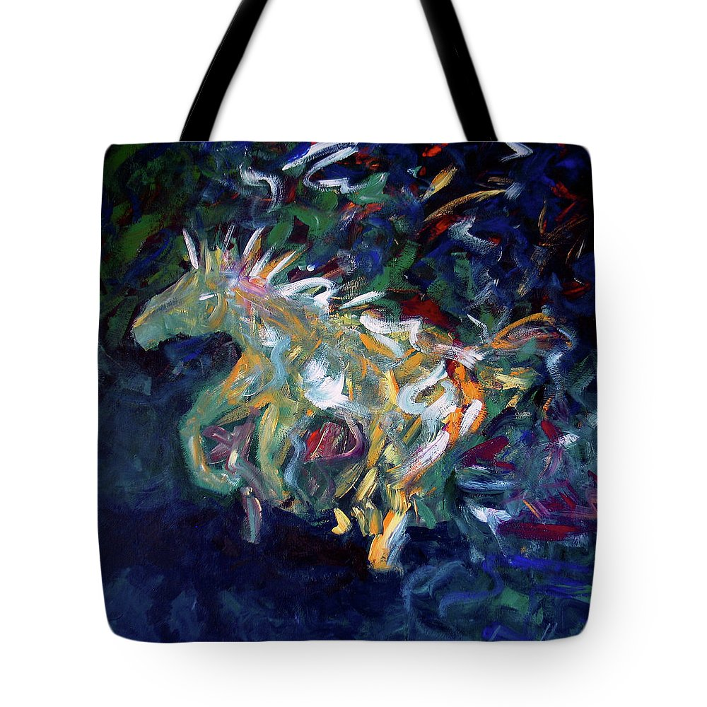 Abstract Horse Tote Bag featuring the painting Painted Pony by Lance Headlee
