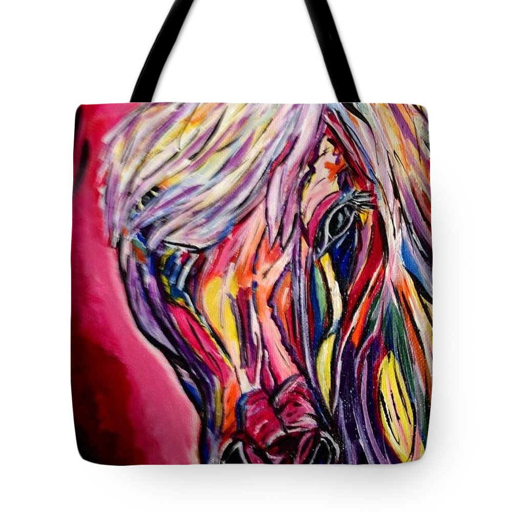 Colors Horse Horses Pony Animals Colorful Abstract Tote Bag featuring the painting Painted Pony by Liz Noska