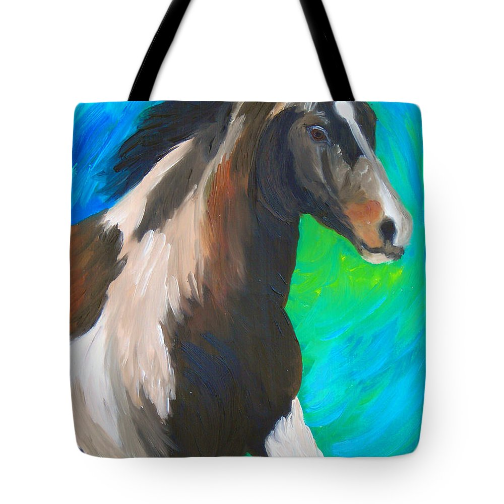Horses Tote Bag featuring the painting Painted Pony by Michael Lee