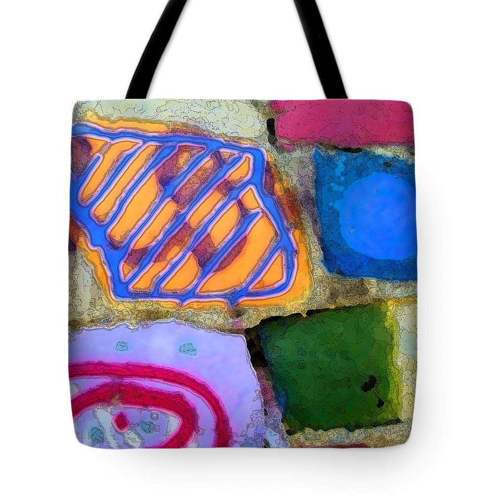 Abstract Tote Bag featuring the digital art Painted Rocks by Lenore Senior