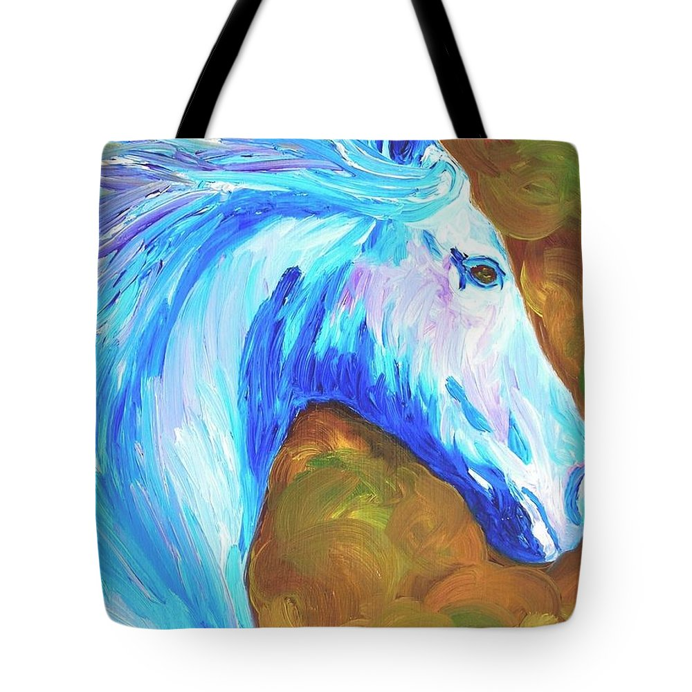 Horses Tote Bag featuring the painting Painted Stallion by Michael Lee