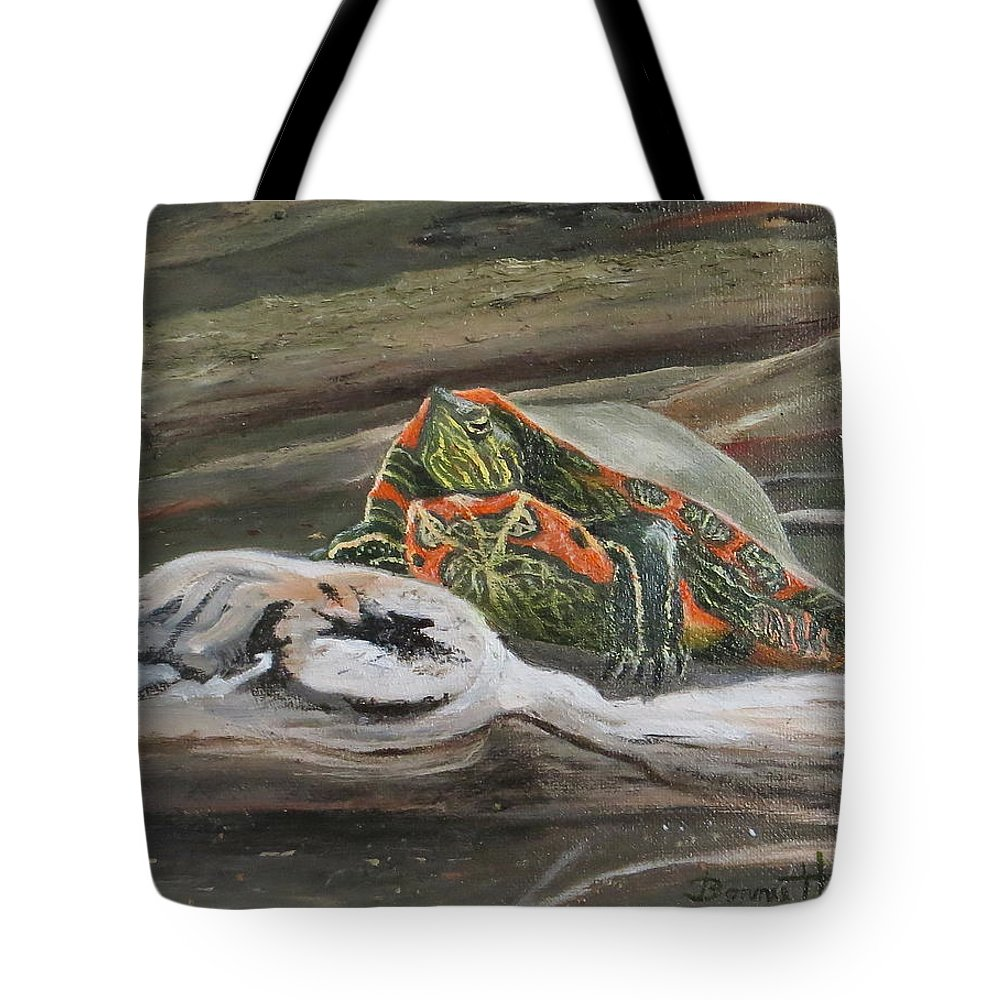 Turtle Tote Bag featuring the painting Painted Turtle by Bonnie Heather