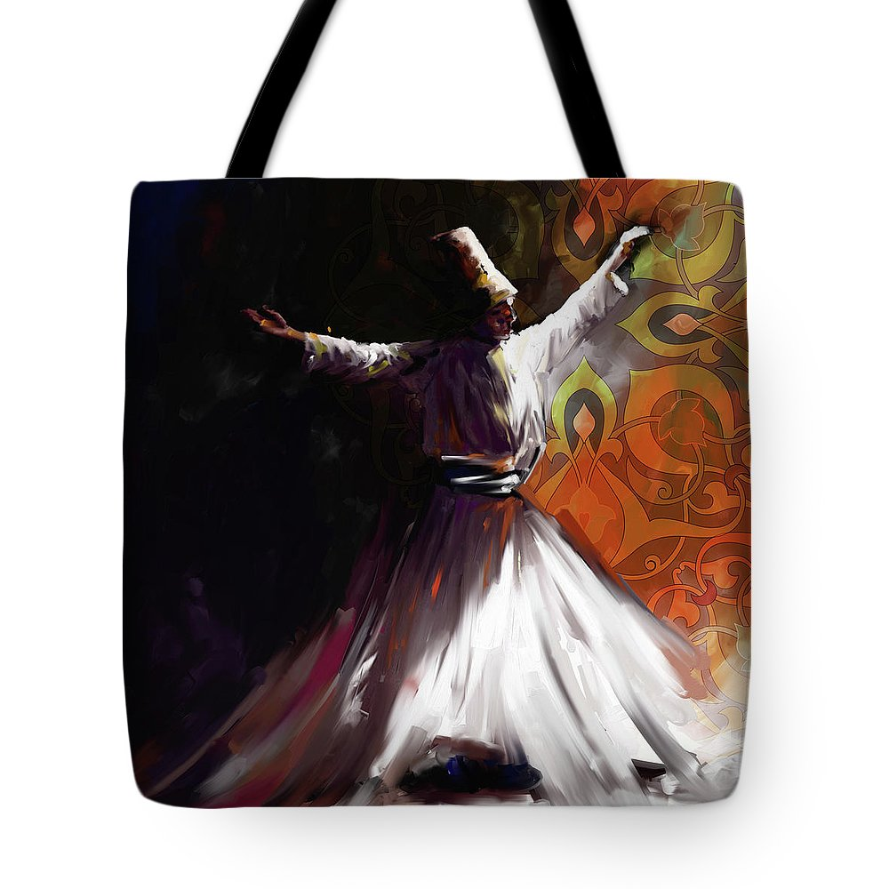 Tanoura Tote Bag featuring the painting Painting 716 3 Sufi Whirl 2 by Mawra Tahreem