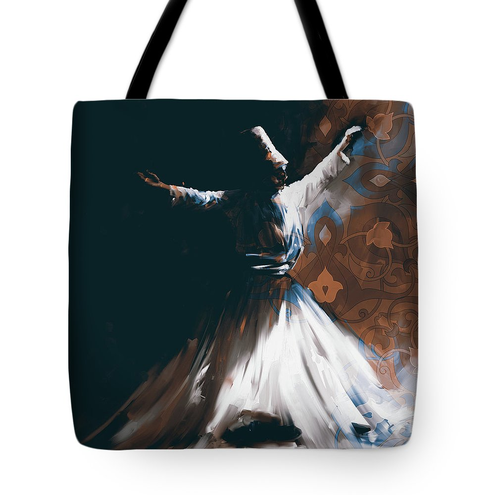 Tanoura Tote Bag featuring the painting Painting 716 4 Sufi Whirl 2 by Mawra Tahreem