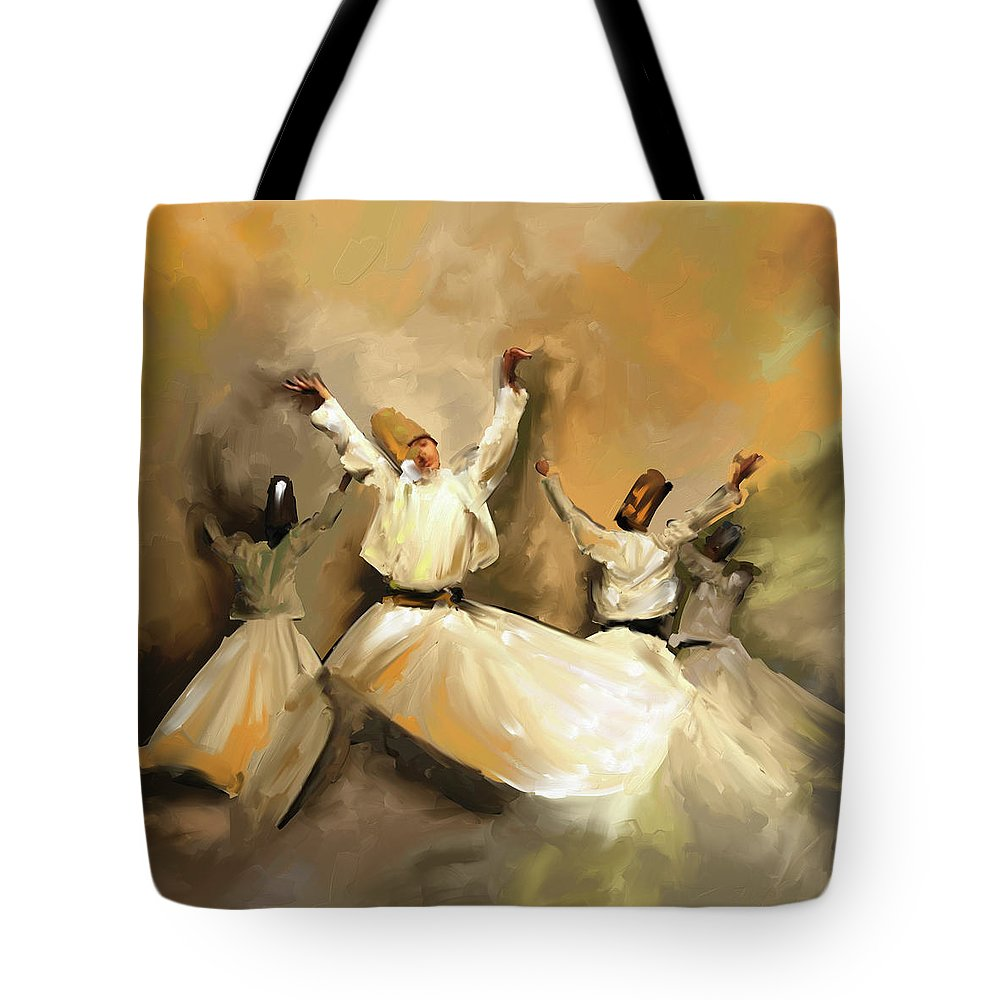 Tanoura Tote Bag featuring the painting Painting 717 1 Sufi Whirl 3 by Mawra Tahreem