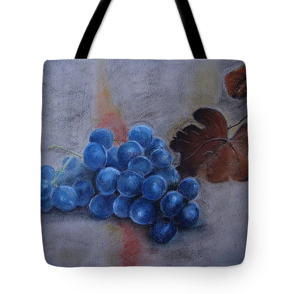 Grapes Tote Bag featuring the painting Painting Grapes by Nataliia Fialko