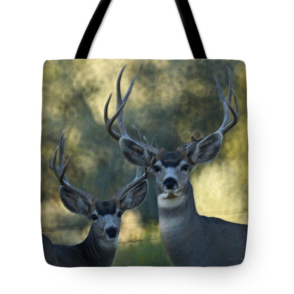 Deer Tote Bag featuring the photograph Pair Of Bucks by Ernie Echols