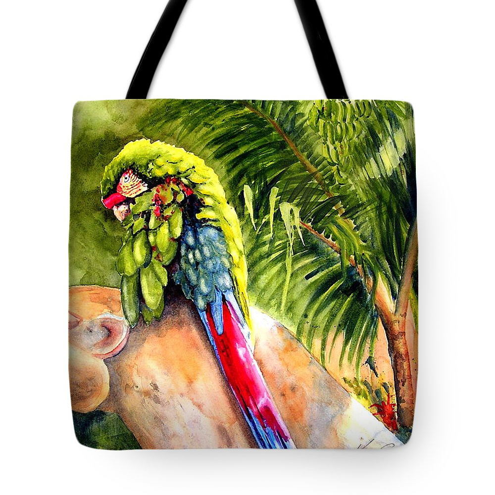 Parrot Tote Bag featuring the painting Pajaro by Karen Stark