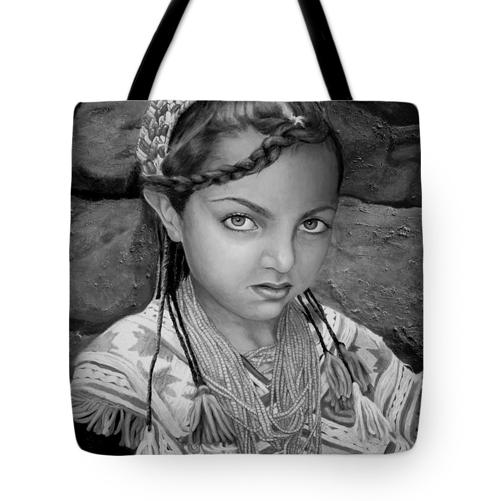 People Portraits Tote Bag featuring the painting Pakistani Girl by Enzie Shahmiri